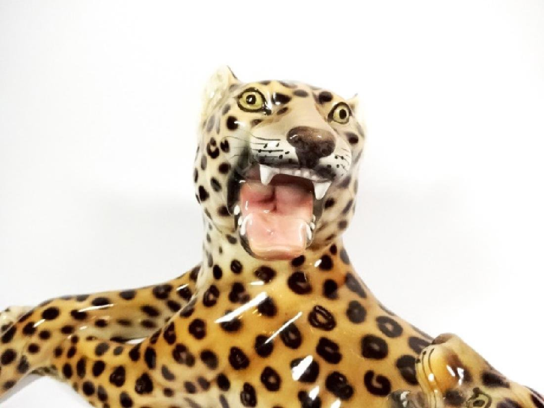 HEYGILL HAND MADE CERAMIC LEOPARD WITH CUB, MADE IN - 4