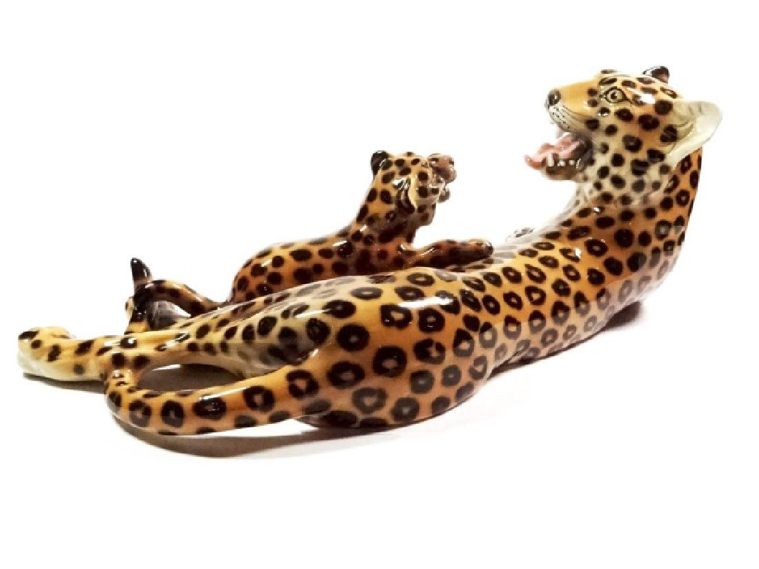 HEYGILL HAND MADE CERAMIC LEOPARD WITH CUB, MADE IN - 5