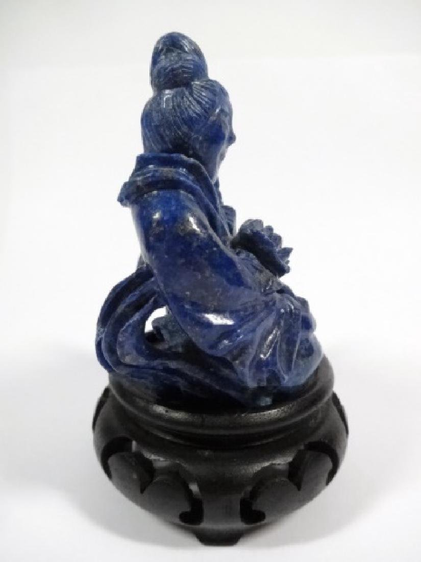 CHINESE CARVED LAPIS LAZULI FIGURINE, WOMAN WITH CHILD, - 5