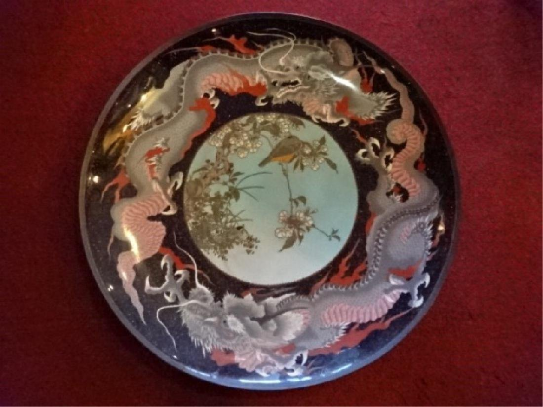 LARGE CHINESE CLOISONNE PLATTER, EARLY 20TH C., INLAID