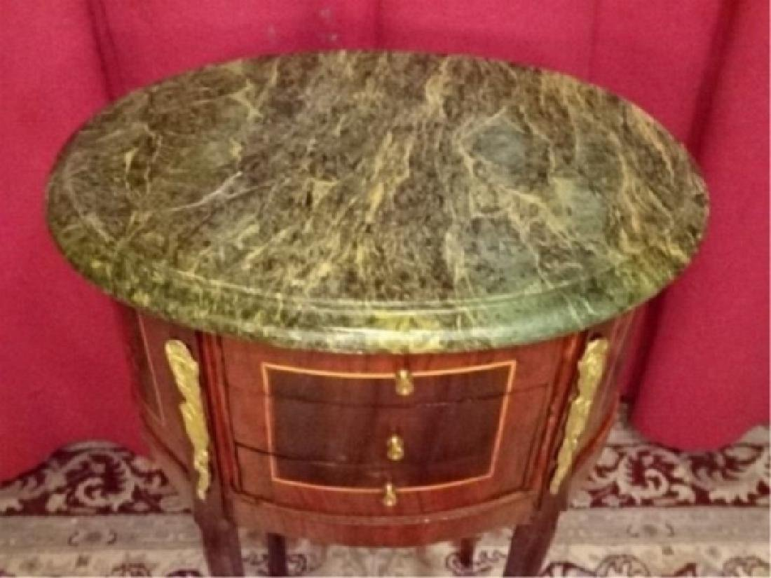 LOUIS XV STYLE OVAL TABLE, MARBLE TOP, 3 DRAWERS, GILT - 6