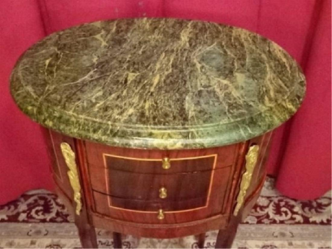 LOUIS XV STYLE OVAL TABLE, MARBLE TOP, 3 DRAWERS, GILT - 7