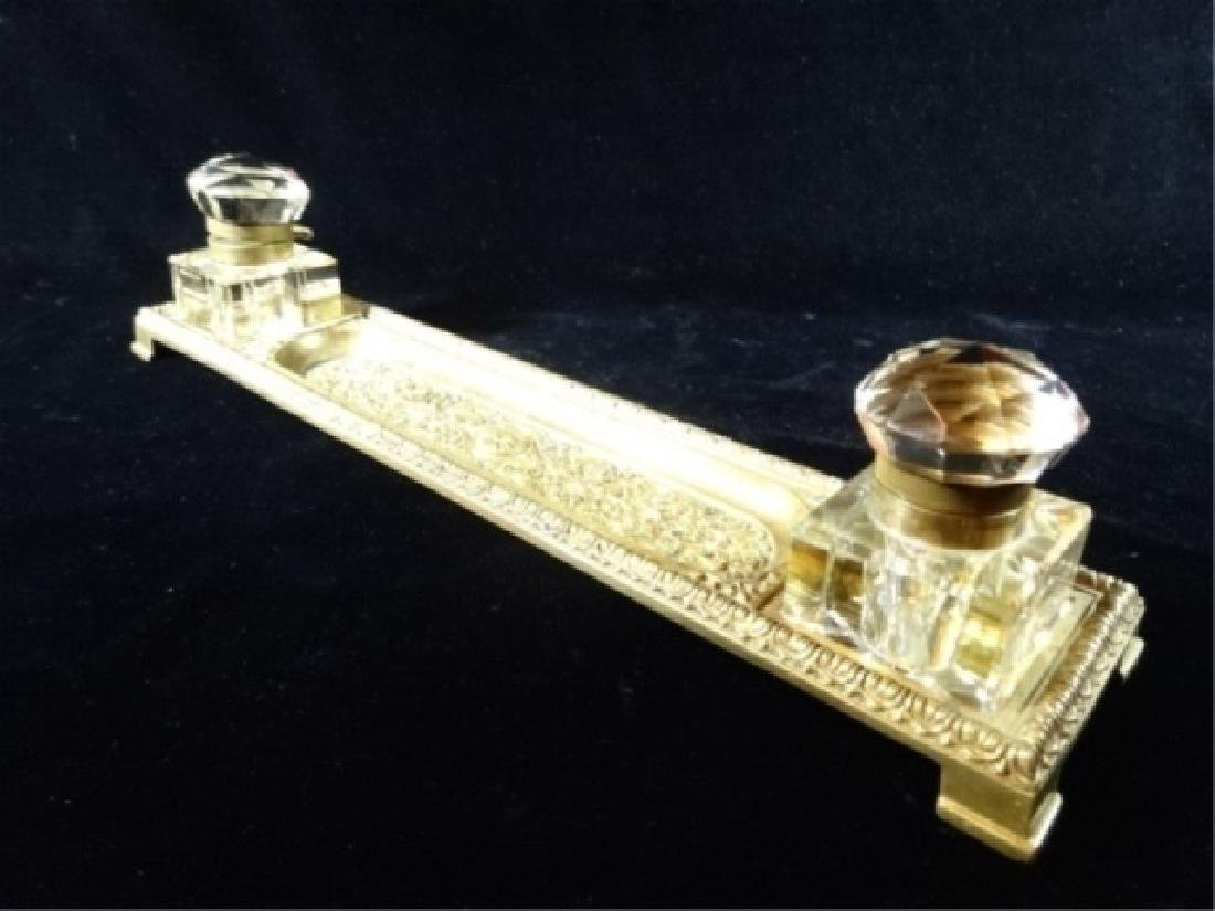 2 CRYSTAL AND BRASS INKWELLS ON RECTANGULAR BRASS TRAY,