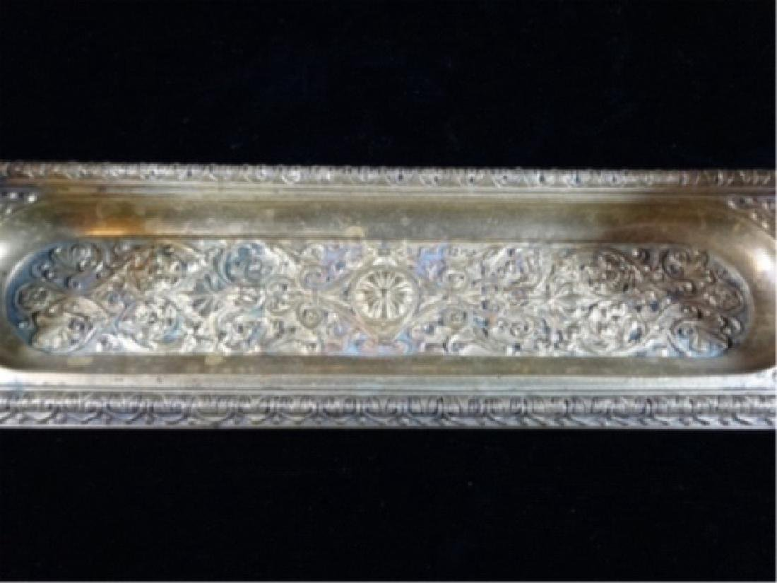 2 CRYSTAL AND BRASS INKWELLS ON RECTANGULAR BRASS TRAY, - 3