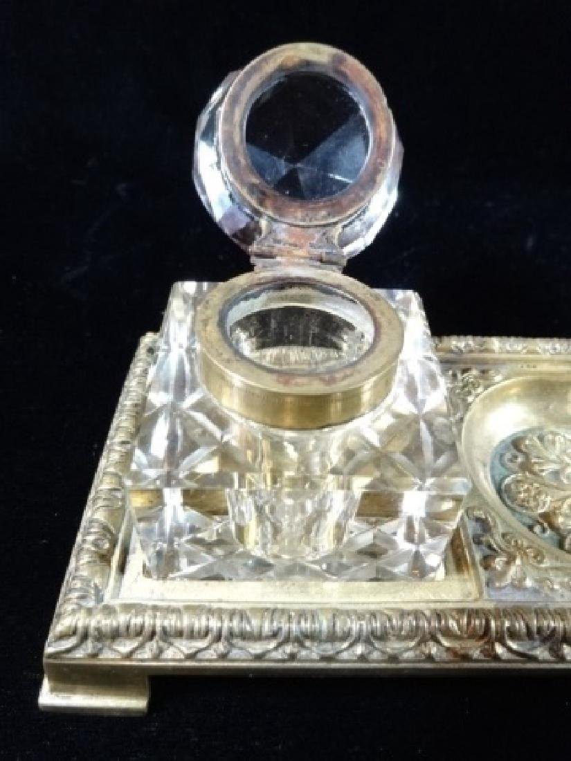 2 CRYSTAL AND BRASS INKWELLS ON RECTANGULAR BRASS TRAY, - 4