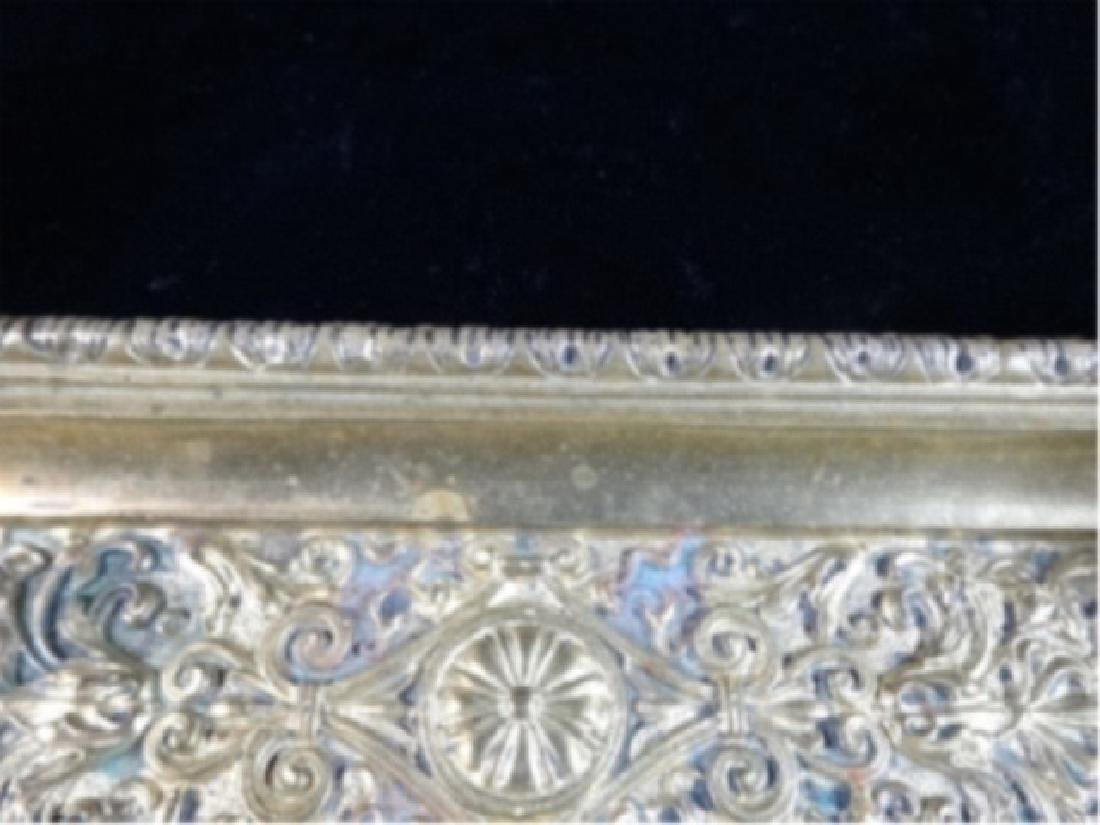 2 CRYSTAL AND BRASS INKWELLS ON RECTANGULAR BRASS TRAY, - 5