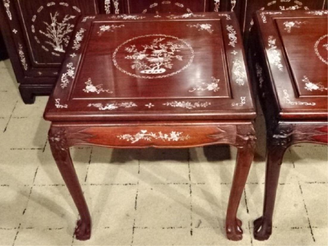 3 PC CHINESE ROSEWOOD TABLE SET, MOTHER OF PEARL INLAID - 5
