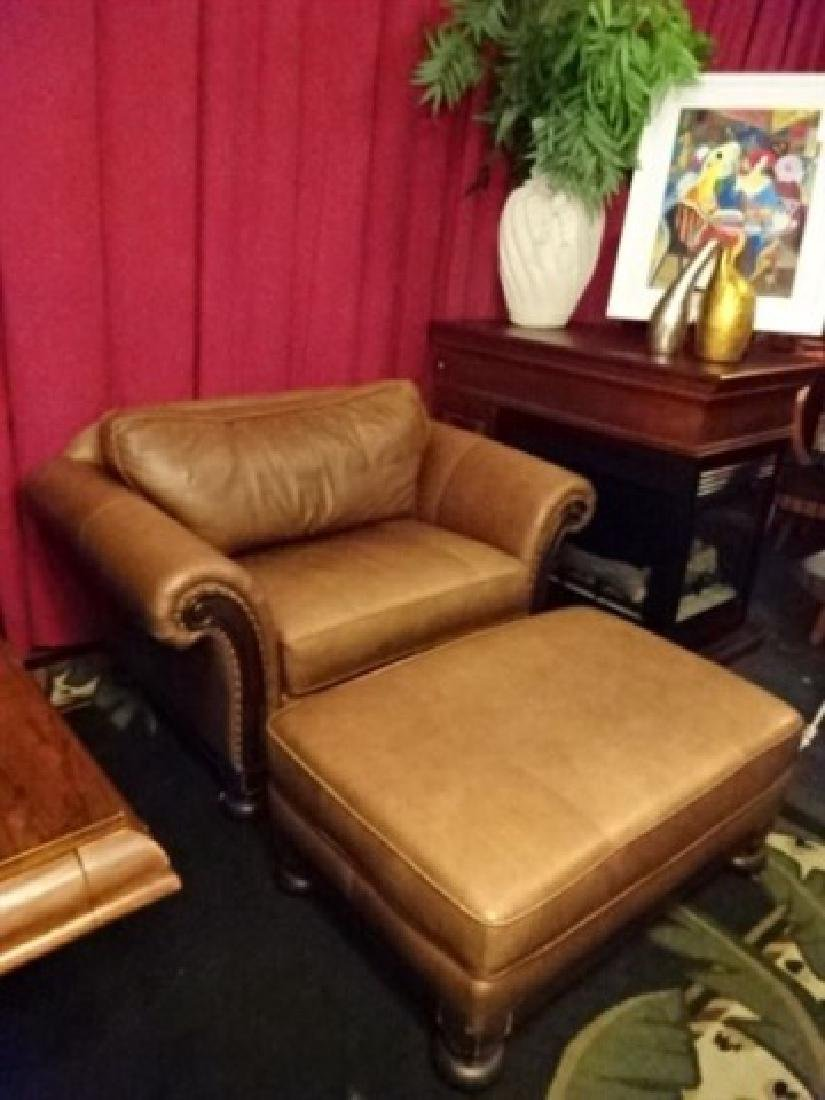 2 PC BERNHARDT LEATHER DOUBLE WIDE ARMCHAIR AND - 4