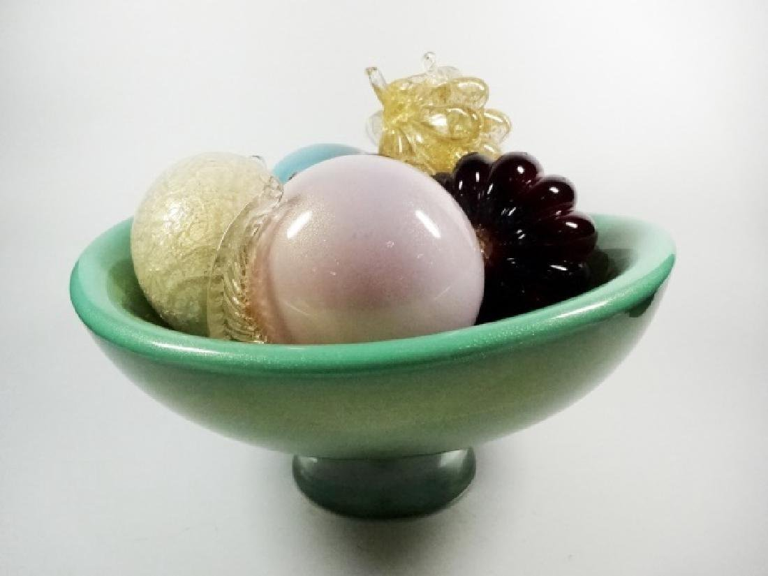 ART GLASS PEDESTAL BOWL WITH ART GLASS FRUIT, BOWL IS - 3