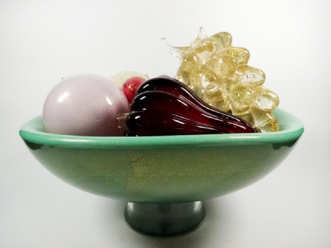 ART GLASS PEDESTAL BOWL WITH ART GLASS FRUIT, BOWL IS - 4