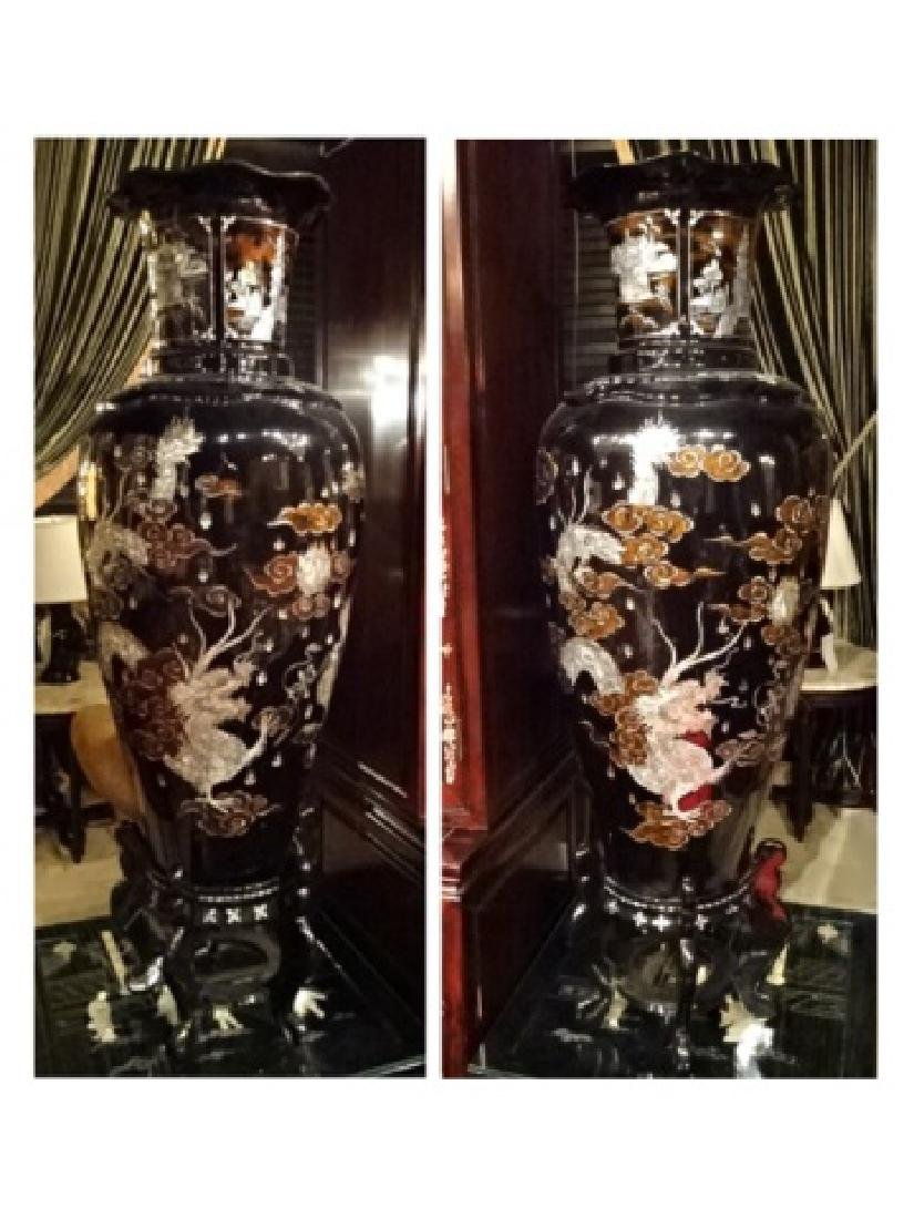 PAIR HUGE CHINESE MOTHER OF PEARL INLAY URNS, BLACK