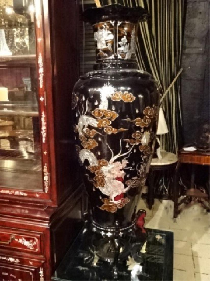 PAIR HUGE CHINESE MOTHER OF PEARL INLAY URNS, BLACK - 4
