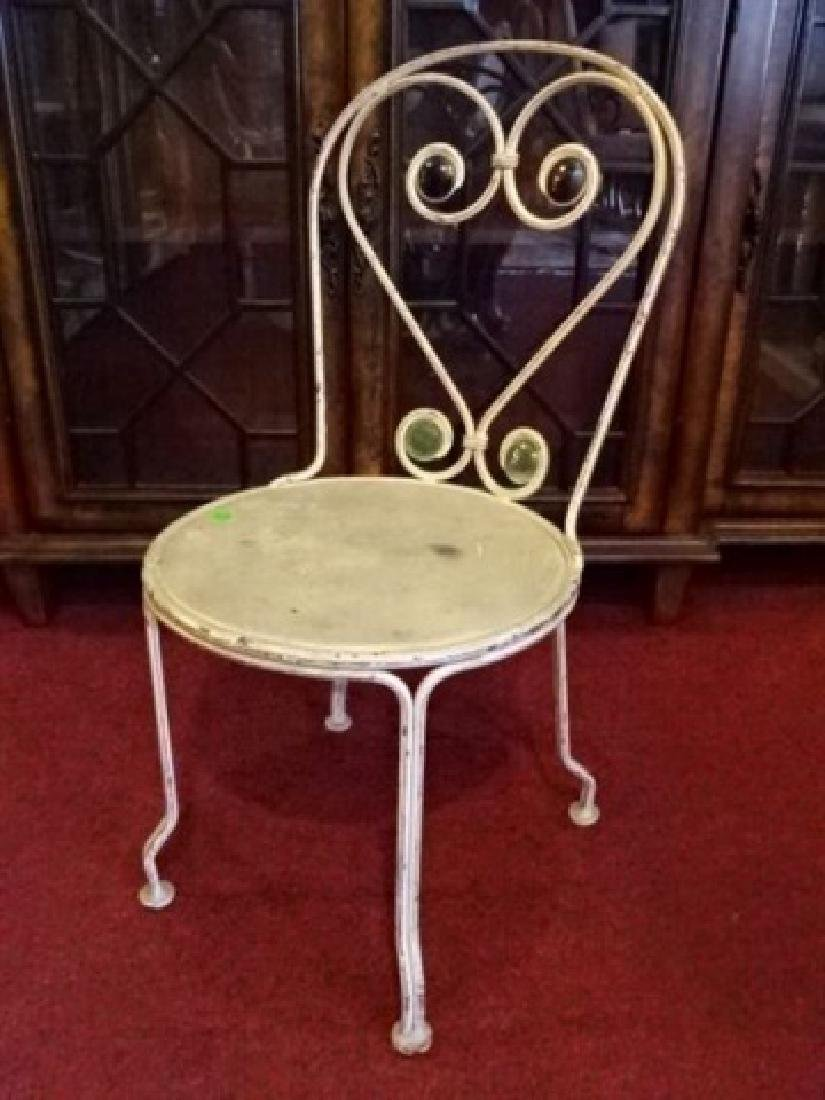 VINTAGE IRON CHILD'S CHAIR, WHITE PAINTED FINISH, GLASS