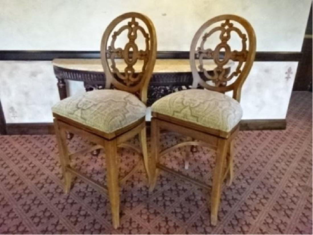 PAIR OVAL BACK SWIVEL BARSTOOLS, BRASS FOOTRAIL,