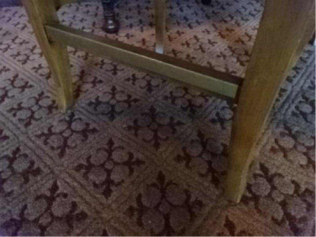 PAIR OVAL BACK SWIVEL BARSTOOLS, BRASS FOOTRAIL, - 4