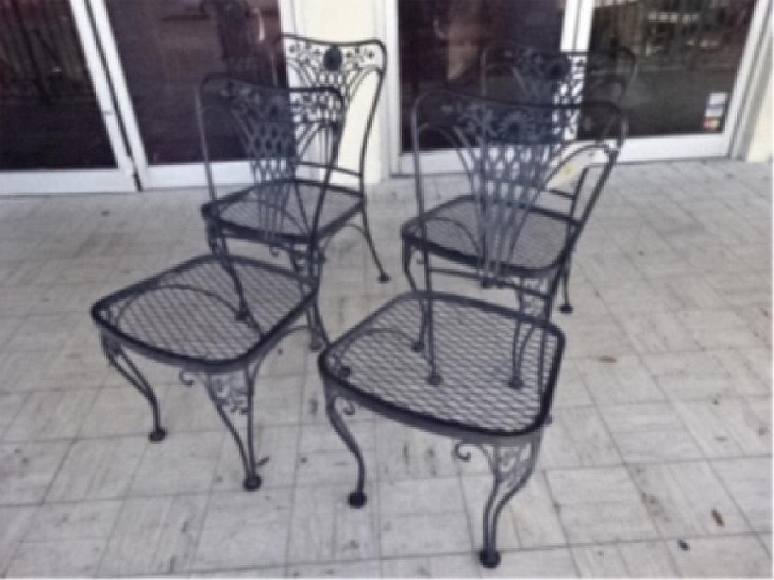 4 SALTERININI STYLE PATIO CHAIRS, BLACK FINISH METAL