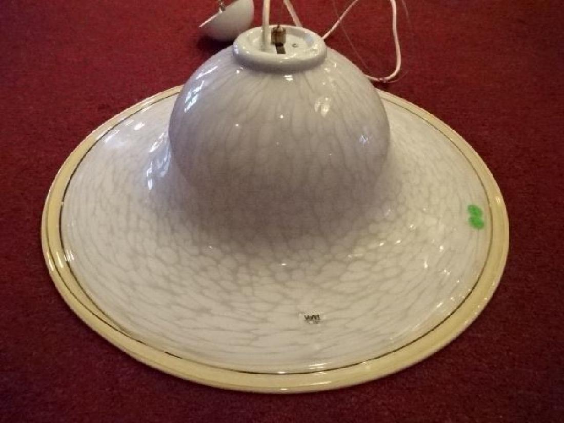 VEART ITALIAN ART GLASS CEILING LAMP, WHITE AND CREAM - 2