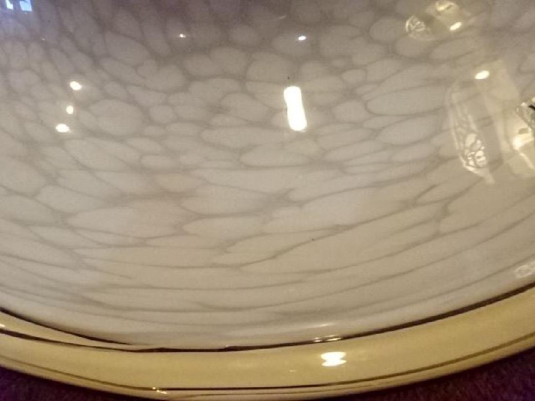 VEART ITALIAN ART GLASS CEILING LAMP, WHITE AND CREAM - 4
