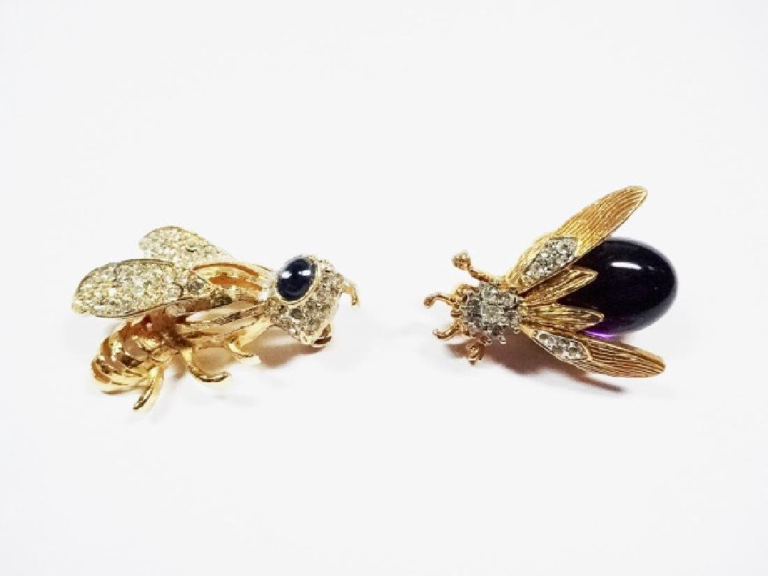 2 RHINESTONE PINS, BEE AND BEETLE WITH PURPLE BODY,