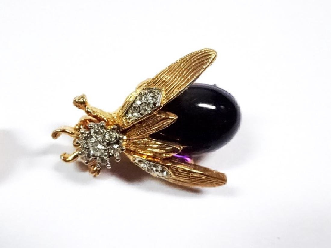 2 RHINESTONE PINS, BEE AND BEETLE WITH PURPLE BODY, - 3