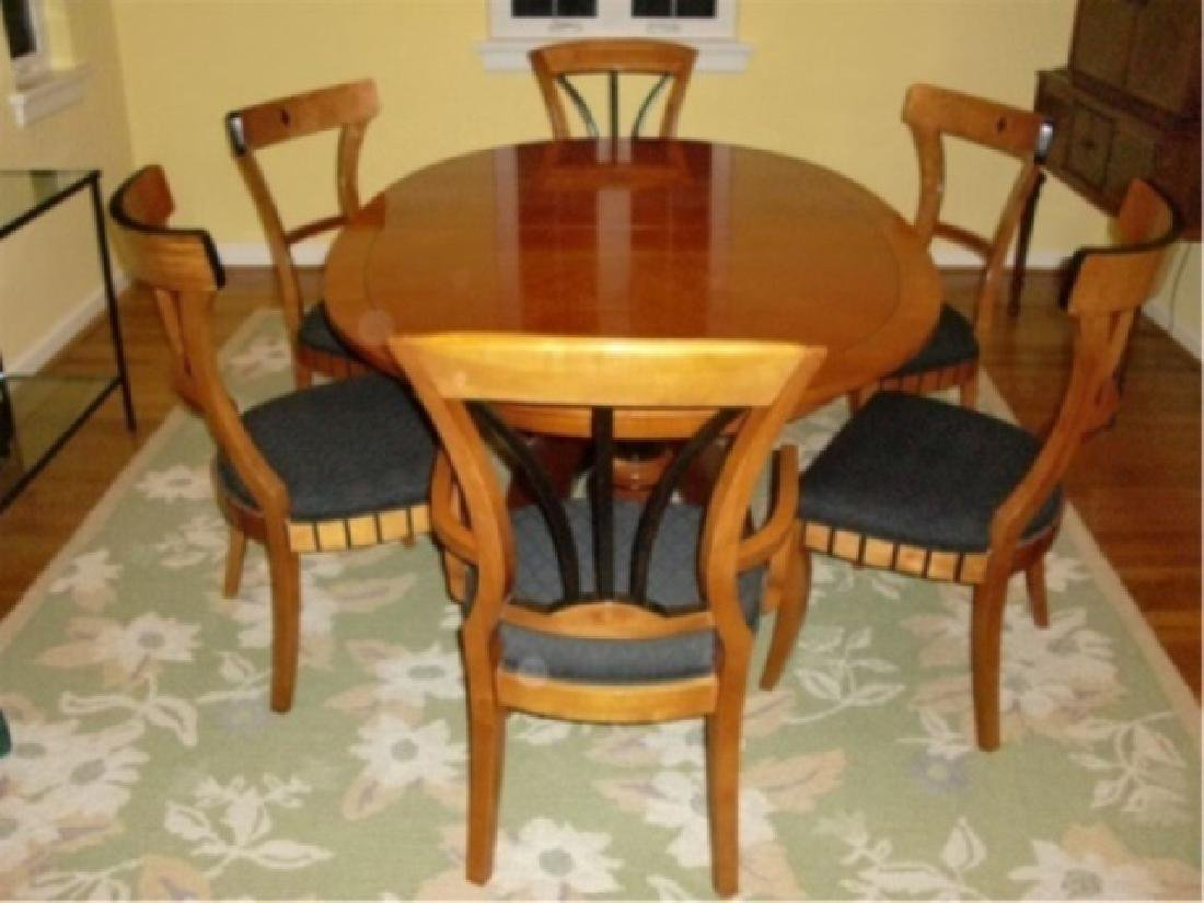 7 PC OVAL BIEDERMEIER DINING SET, TABLE AND 6 CHAIRS (2