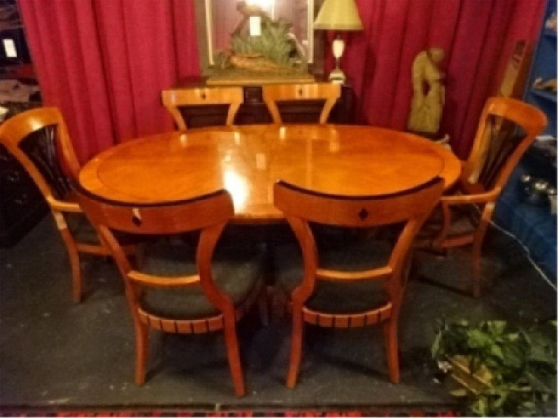 7 PC OVAL BIEDERMEIER DINING SET, TABLE AND 6 CHAIRS (2 - 4