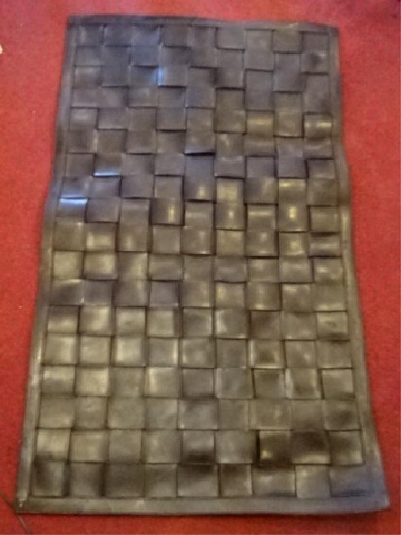 WOVEN BLACK LEATHER AREA RUG, VERY GOOD CONDITION, 57""