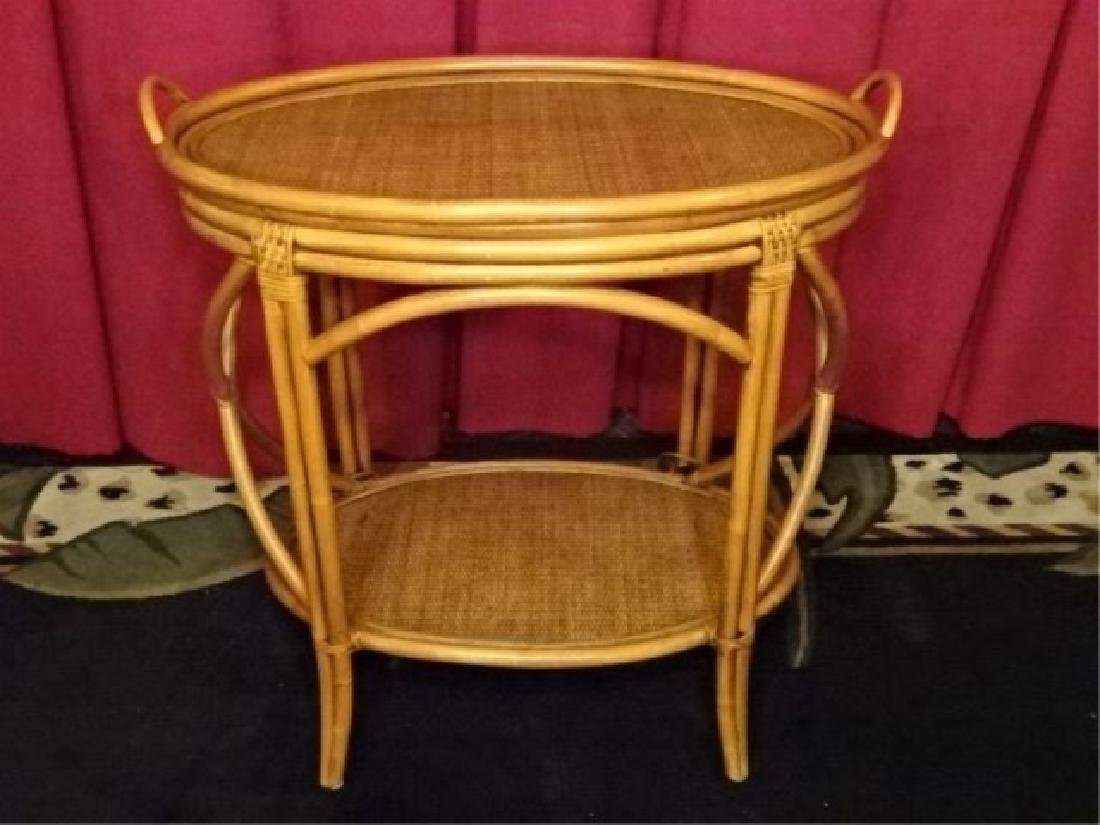 OVAL BAMBOO AND RATTAN TRAY TABLE, OVAL REMOVABLE TRAY