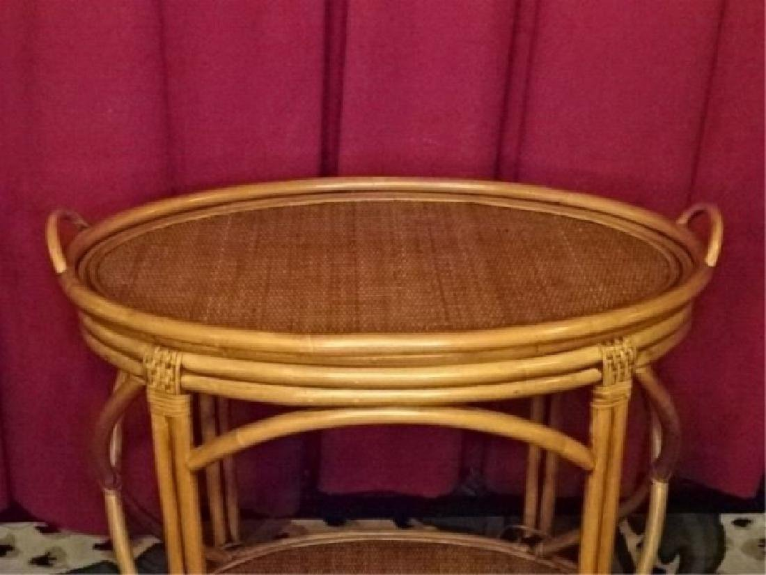 OVAL BAMBOO AND RATTAN TRAY TABLE, OVAL REMOVABLE TRAY - 3