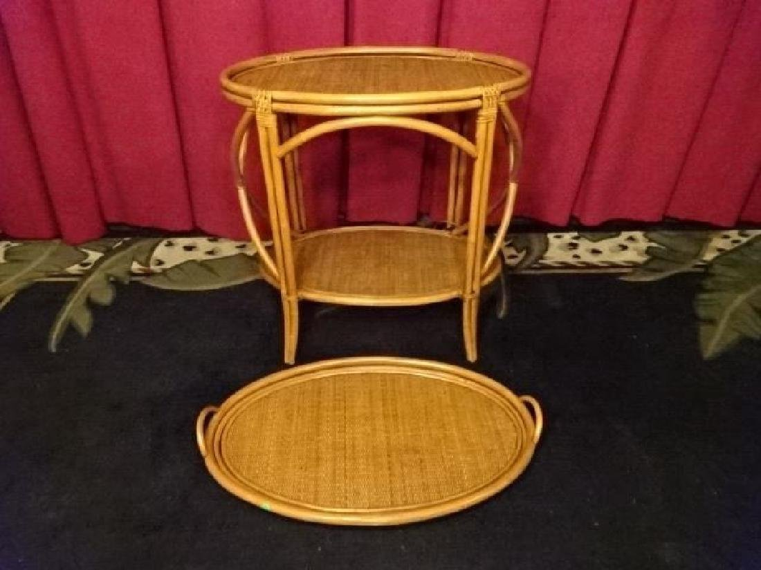 OVAL BAMBOO AND RATTAN TRAY TABLE, OVAL REMOVABLE TRAY - 5