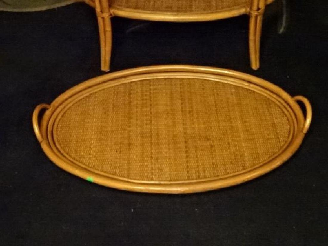 OVAL BAMBOO AND RATTAN TRAY TABLE, OVAL REMOVABLE TRAY - 6