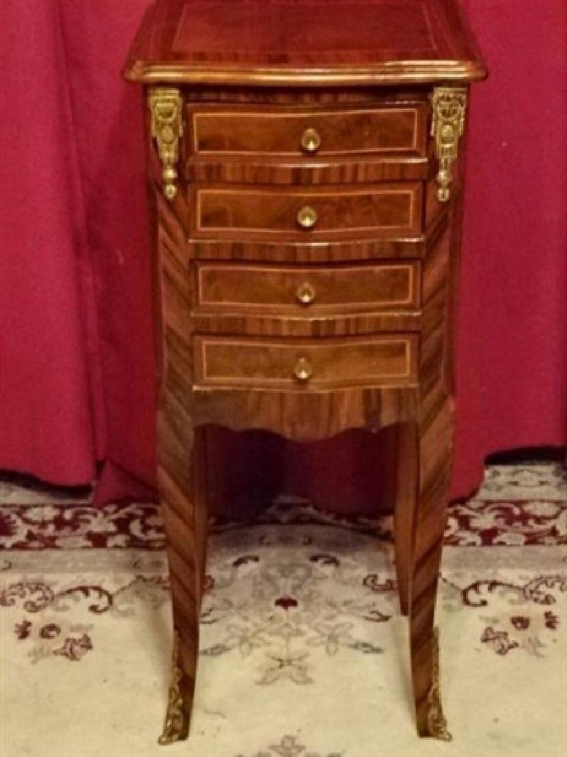 LOUIS XV STYLE TABLE, 4 DRAWERS, INLAID DESIGNS, GILT