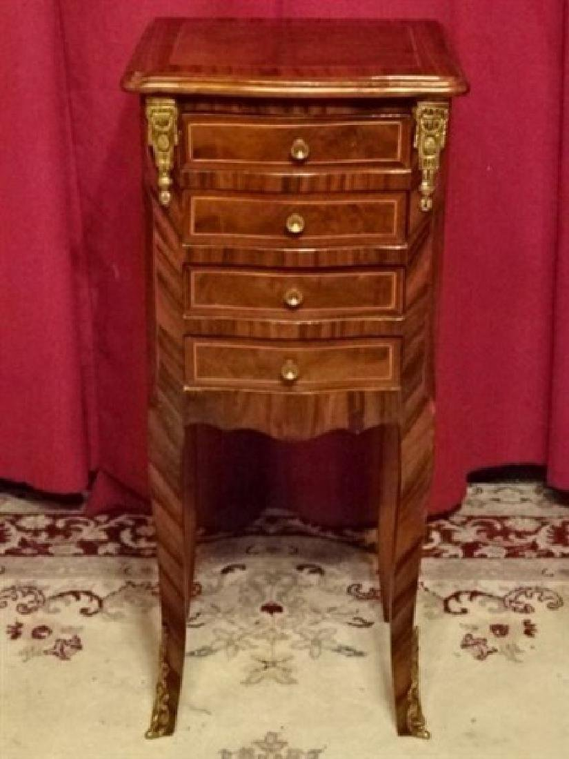 LOUIS XV STYLE TABLE, 4 DRAWERS, INLAID DESIGNS, GILT - 2