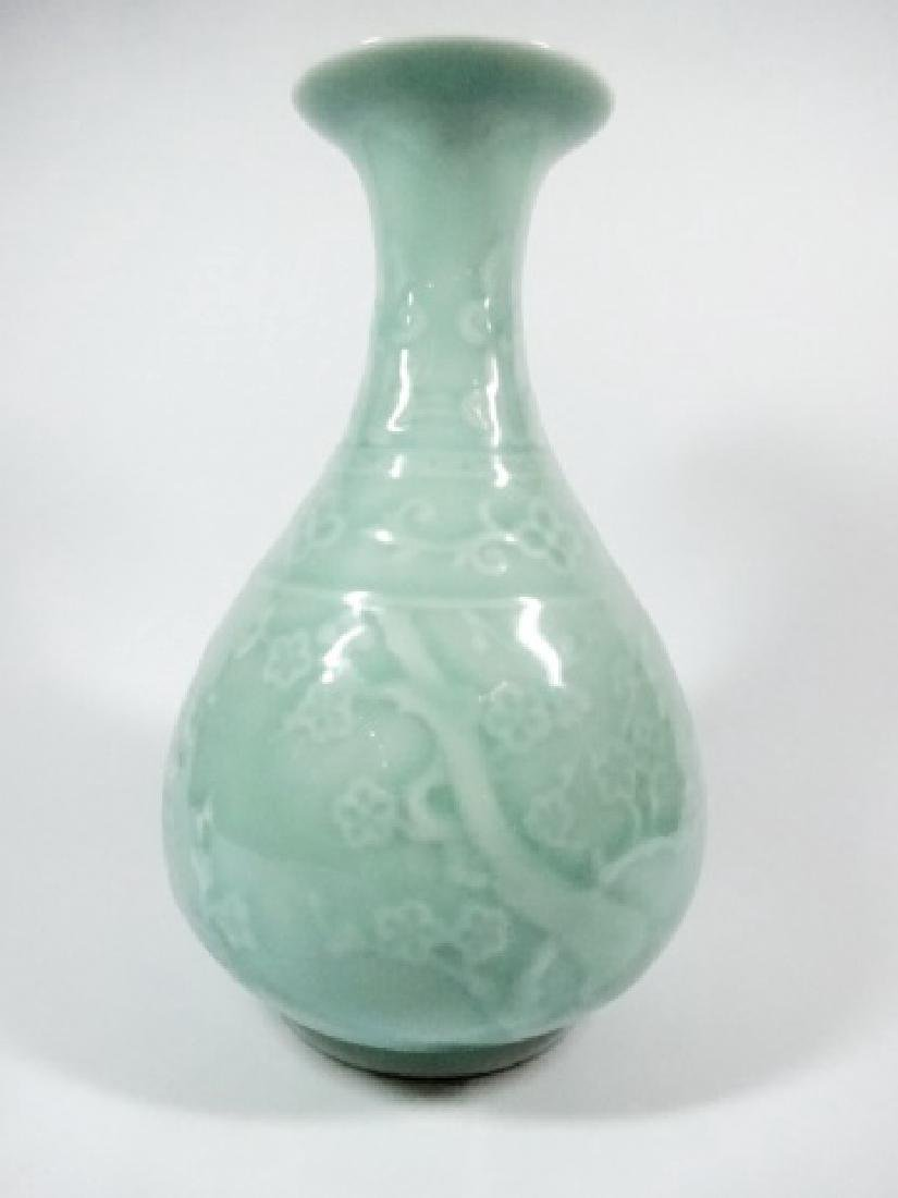 CELADON GREEN CERAMIC VASE, CHERRY BLOSSOM PATTERN,