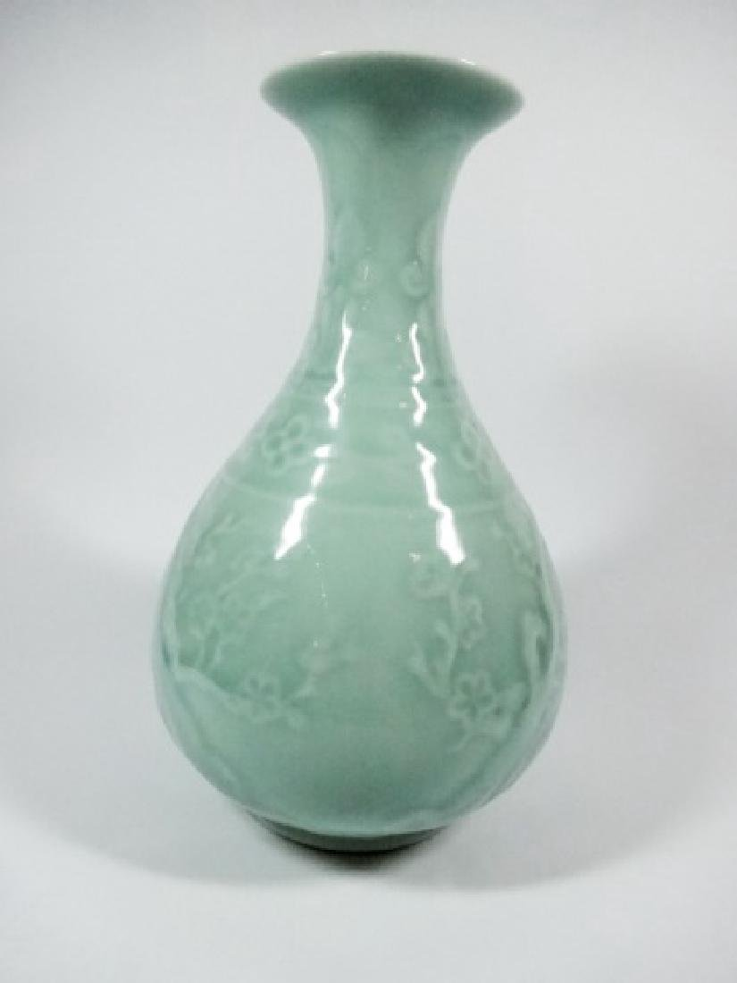 CELADON GREEN CERAMIC VASE, CHERRY BLOSSOM PATTERN, - 2