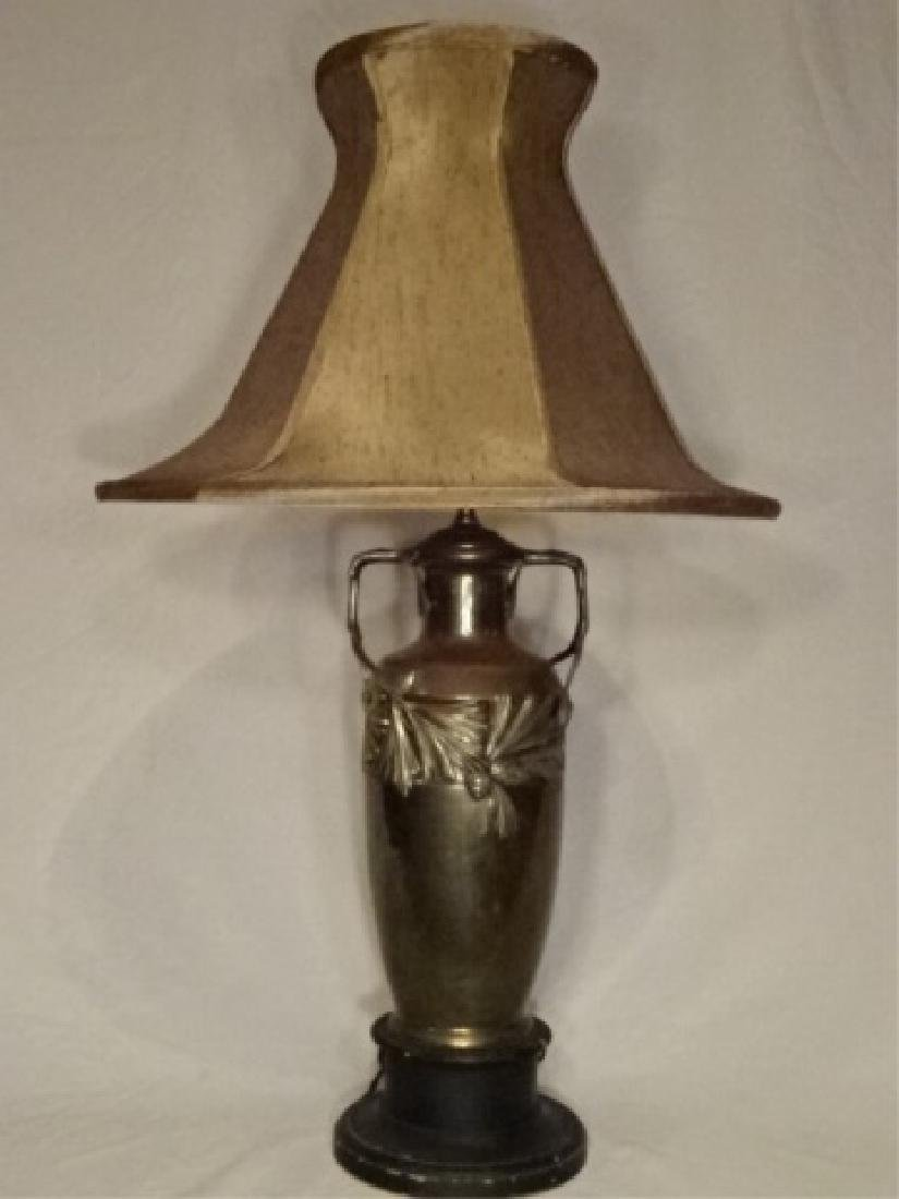 ART NOUVEAU STYLE LAMP, METAL URN FORM BASE WITH