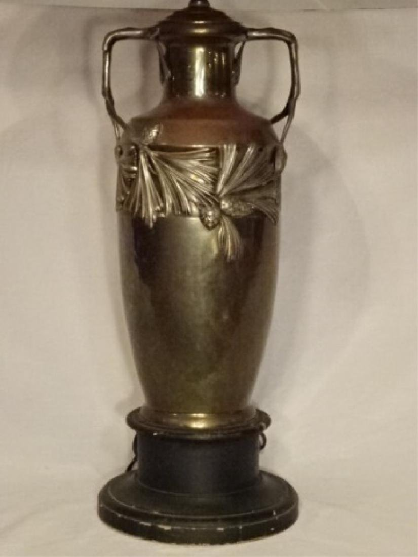 ART NOUVEAU STYLE LAMP, METAL URN FORM BASE WITH - 3
