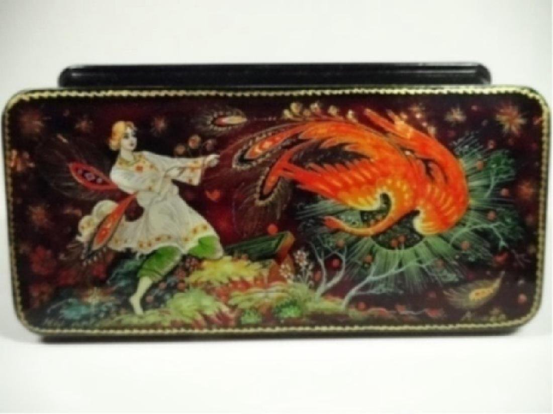 5 PC RUSSIAN HAND PAINTED LACQUERED BOXES, ARTIST - 10