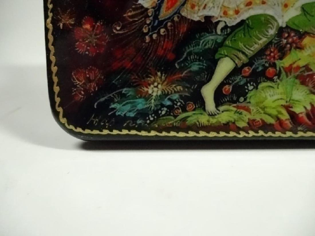 5 PC RUSSIAN HAND PAINTED LACQUERED BOXES, ARTIST - 2