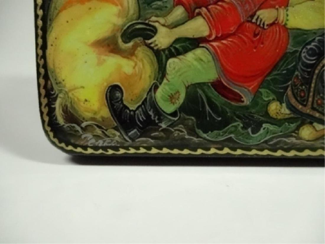 5 PC RUSSIAN HAND PAINTED LACQUERED BOXES, ARTIST - 4