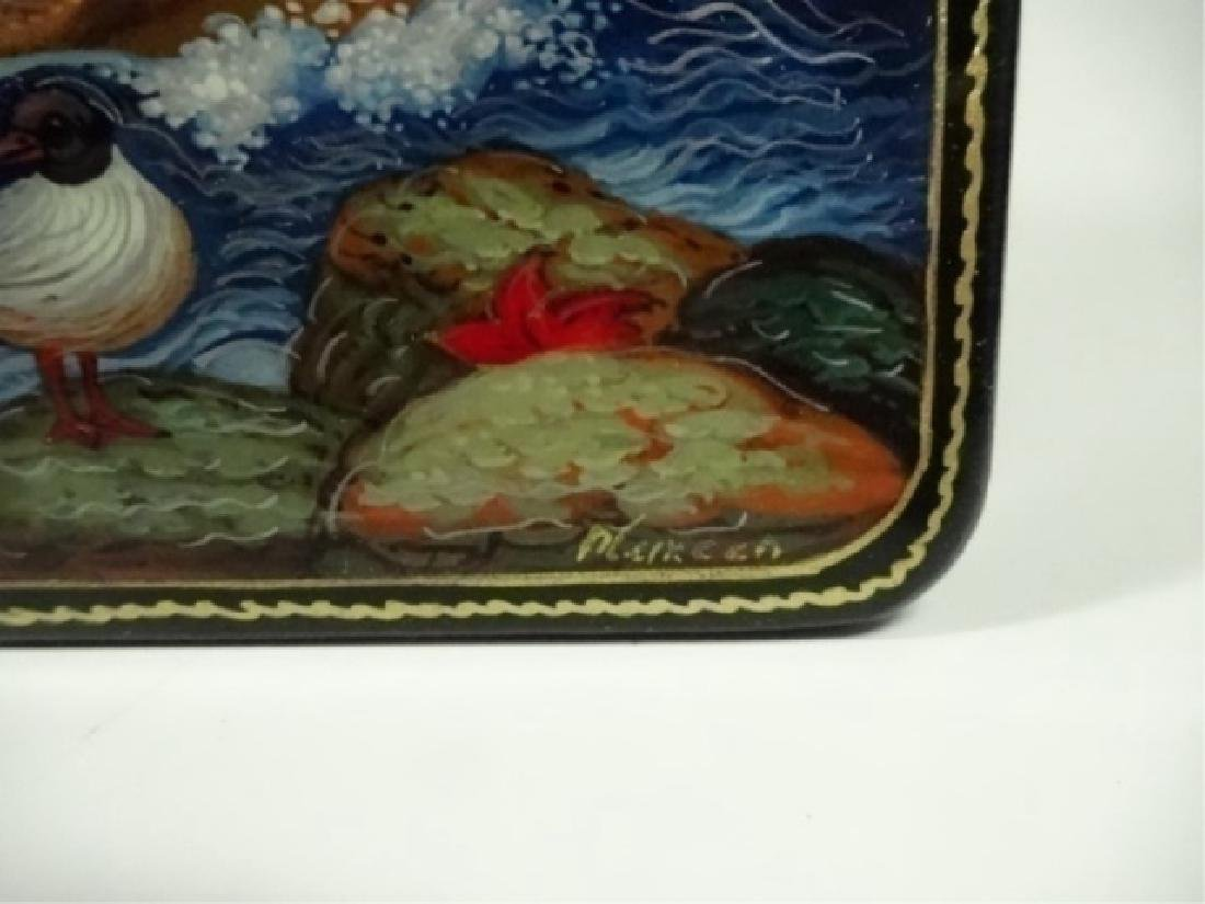 5 PC RUSSIAN HAND PAINTED LACQUERED BOXES, ARTIST - 8