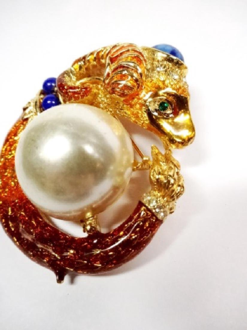 2 PC CHUNKY PINS WITH FAUX PEARL ACCENTS, RAM'S HEAD - 4