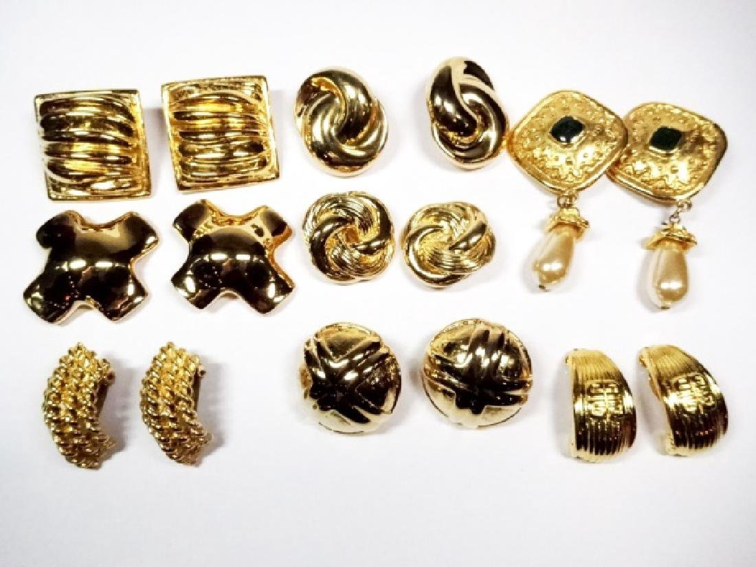 9 PAIRS CHUNKY EARRINGS, GOLD TONE, ONE PAIR WITH - 2