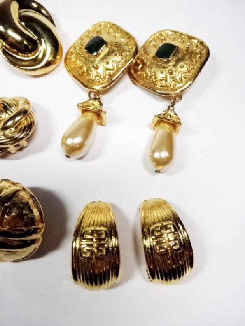 9 PAIRS CHUNKY EARRINGS, GOLD TONE, ONE PAIR WITH - 5