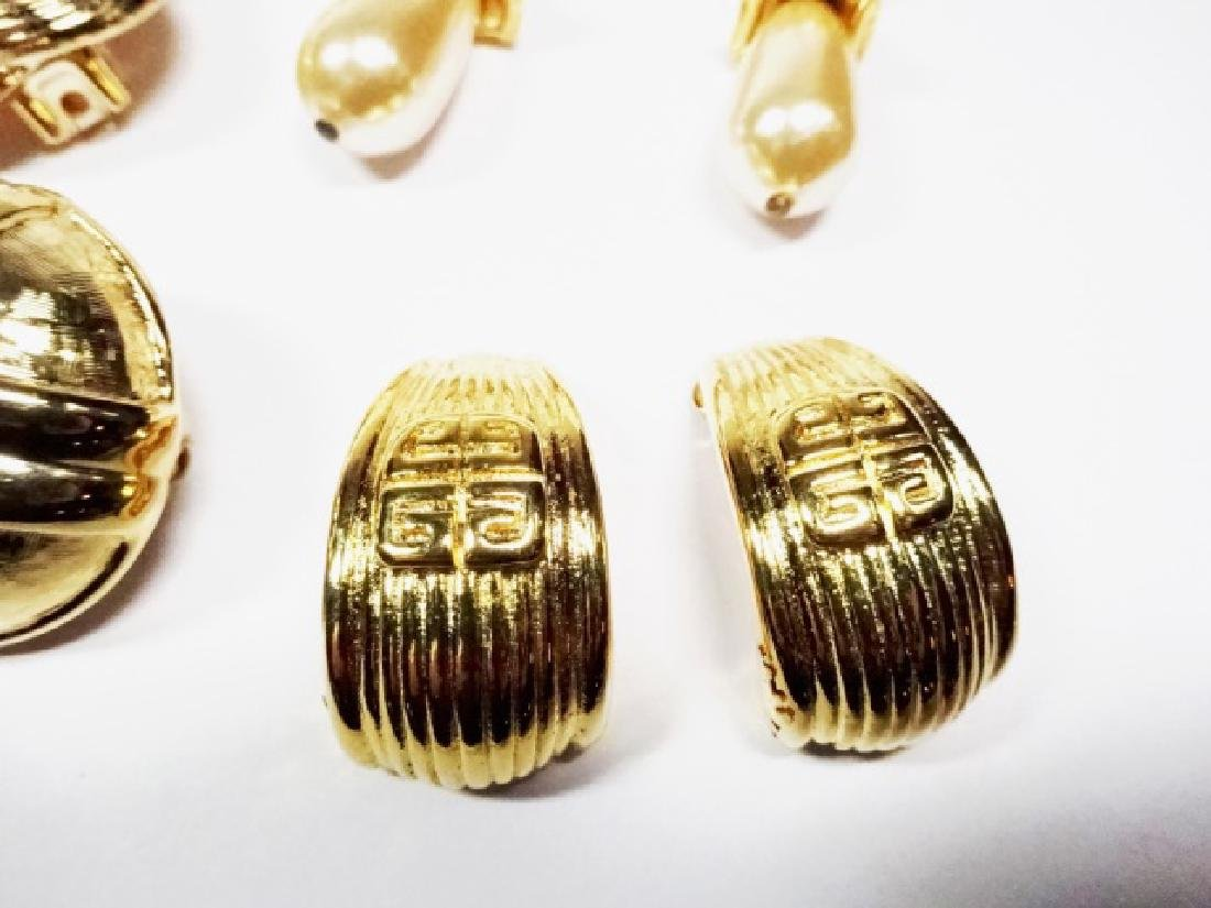 9 PAIRS CHUNKY EARRINGS, GOLD TONE, ONE PAIR WITH - 6