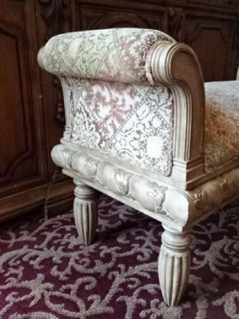 CURVED ARM BENCH, UPHOLSTERED SEAT AND ARMS, ANTIQUED - 3