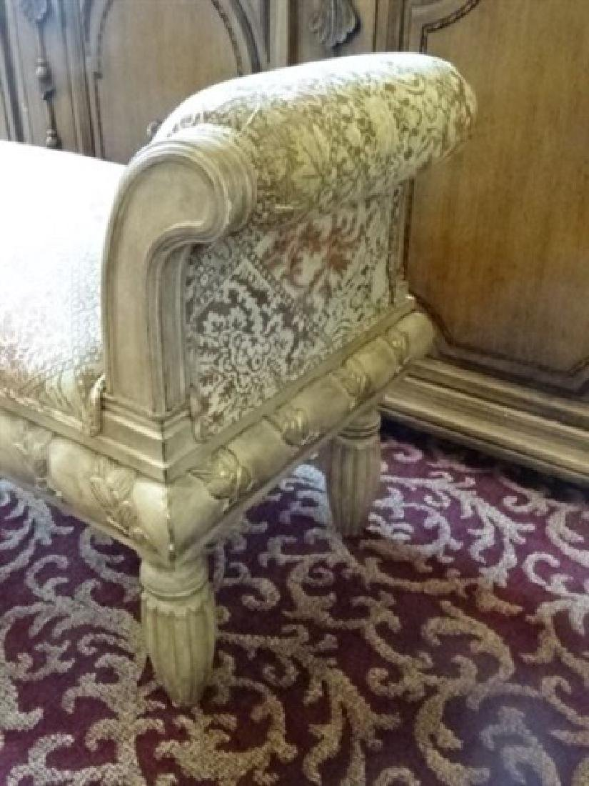 CURVED ARM BENCH, UPHOLSTERED SEAT AND ARMS, ANTIQUED - 4