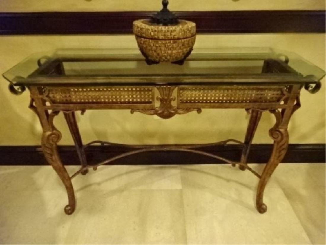 CHIPPENDALE STYLE METAL CONSOLE TABLE, BEVELED GLASS