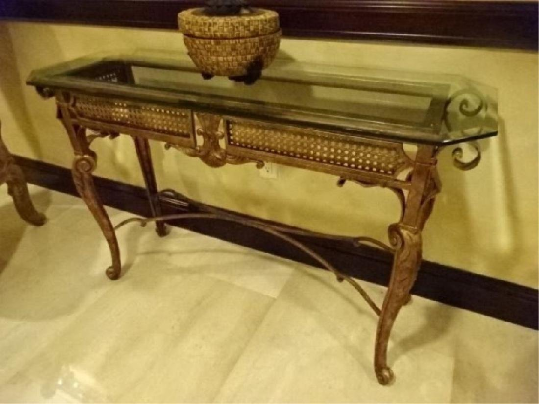 CHIPPENDALE STYLE METAL CONSOLE TABLE, BEVELED GLASS - 2