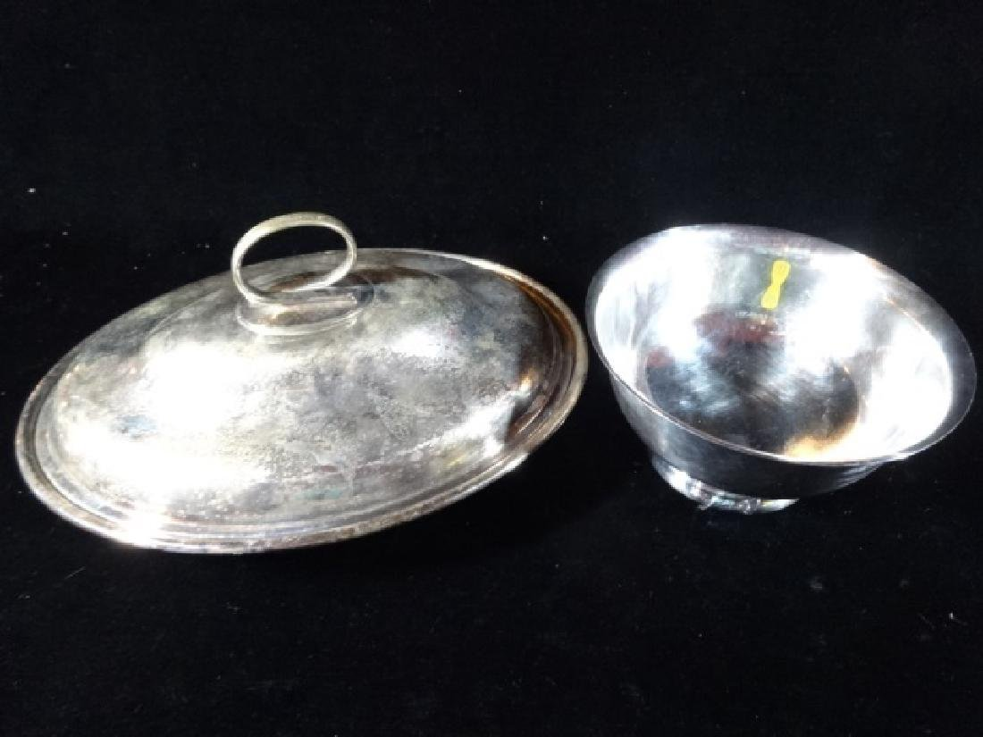 2 PC SILVERPLATE OVAL LIDDED BOWL AND ROUND BOWL, VERY